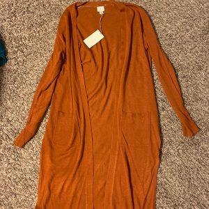 Sweaters - Long Orange Cardigan w/ Side Slits